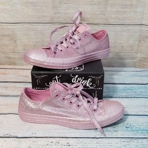Converse Pink Sparkly Glitter All Star Shoes Sz 7